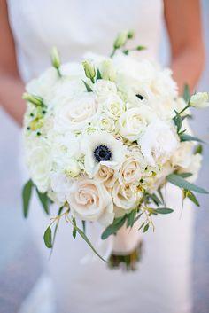 white rose, hydrangea and anemone bouquet brocade nashville