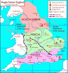 The four main kingdoms of Anglo-Saxon England in the early Middle Ages, circa 830:  Northumbria, East Anglia, Mercia and Wessex.