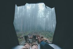 """""""Waking up on a very foggy morning in the rooftop tent."""" Photo Credit: Dylan Furst. From 500px."""