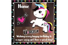 Your place to buy and sell all things handmade Very Happy Birthday, Girl Birthday, Unicorn Birthday Cards, Colorful Birthday, Motivational Gifts, Sassy Girl, Handmade Items, Handmade Gifts, Kids Cards