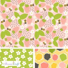 summer strawberries bumble bees surface pattern design