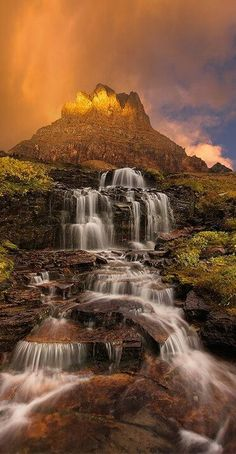 Dawn Waterfall, Clements Mountain, Montana, United States of America. Beautiful Waterfall Thanks ! Beautiful Waterfalls, Beautiful Landscapes, Famous Waterfalls, Beautiful World, Beautiful Places, Beautiful Pictures, Beautiful Scenery, Amazing Places On Earth, Amazing Nature