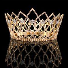 FUMUD 4 Inch Tall Large Gold Tone Rhinestone Bridal Queen Miss Beauty Pageant Crown Hair Comb Headpiece Crown Tiaras