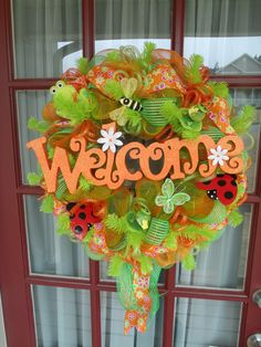 Beautiful Spring Summer Orange and  Lime Green  deco Mesh Wreath.