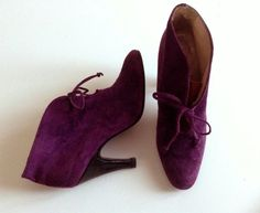 Vintage 1980s purple suede leather lace up ankle boots