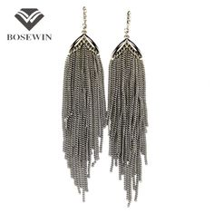 Antique Silver Color Long Chain Tassels Earrings Boho Style  Dangle Drop Earrings Vintage Statement Jewelry WOW Visit us