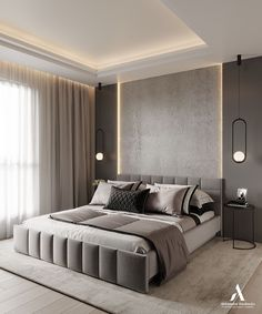 If you are interested what the current trends in stylish modern design are, just take a look at the latest project by Aleksandra Wachowicz Room Design Bedroom, Bedroom False Ceiling Design, Master Bedroom Interior, Modern Master Bedroom, Bedroom Furniture Design, Home Room Design, Home Decor Bedroom, Bedroom Ideas, Bedroom Signs