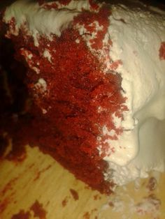 ' This delicious treat has layers of vampy red cake contrasting with snowy white frosting. Velvet Cake, Red Velvet, Red Cake, White Frosting, Yummy Treats, Ice Cream, Baking, Desserts, No Churn Ice Cream
