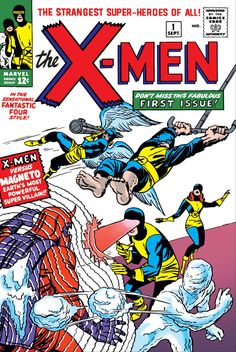 X-Men Vol 1 #1 Cover. This is the first ever appearance of The Original X-Men and Magneto. This comic book was published on September 1963, 2 months before the assassination of John F. Kennedy. The original X-Men are: Cyclops, Angel, Beast, Iceman, Marvel Girl and their leader Professor X.   Portada de X-Men Volumen 1 #1. Esta es la primera aparición de los X-Men y de Magneto. Los miembros originales son: Cyclops, Angel, Beast, Iceman y Marvel Girl.