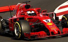 Télécharger fonds d'écran Sebastian Vettel, close-up, chemin de câbles, Ferrari SF71H, 2018 voitures, la Scuderia Ferrari, circuit de course, Formule 1, la nouvelle ferrari f1, F1, nouveau cockpit protection, HALO, SF71H, Ferrari, Ferrari 2018
