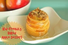 Kid-Friendly Baked Apple Dessert.  A delicious Fall treat that is easy for your kids to eat.  Stuffed with pumpkin, and cinnamony streusel.  Yum.