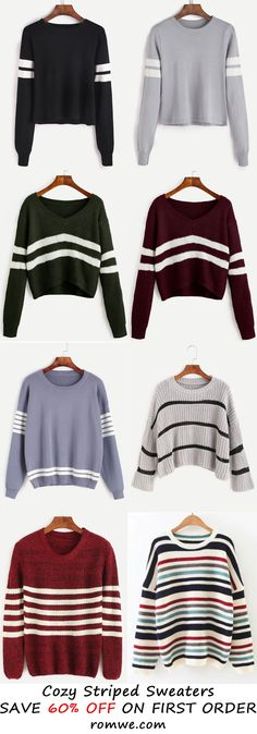 Vintage Striped Sweaters from romwe.com.  Style with Jeans or black leggings
