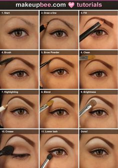 Step-by-step filling and shaping brow and natural eyeshadow look tutorial shown on makeupbee.com. L♥Ve it!
