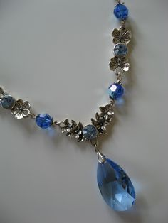 Sapphire drop necklace with Swarovski Elements