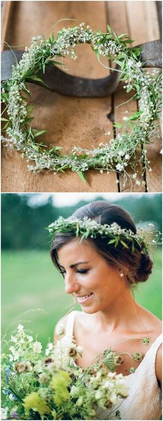Natural bridal hairstyle, wedding up-do, low bun, flower crown, little