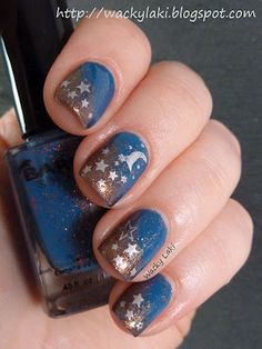 Wacky Laki: Sunday Stamping: The Sky's the Limit. #nails #nailart #manicure Pinned by www.SimpleNailArtTips.com
