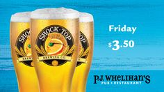 $3.50 Shock Top Every Friday at #PJsPub