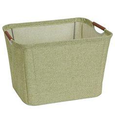 Household Essentials Small Tapered Soft-Side Storage Bin with Wood Handles, Green Image 1 of 2 Basket Shelves, Storage Baskets, Book Bins, Media Shelf, Fabric Storage Bins, Brown Coffee, Bedding Shop, Closet Storage, Storage Containers