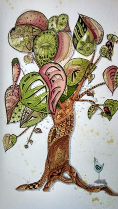 #Watercolor and #zentangle  #art LIVELY TREE by JoAnne White Sep. 2013