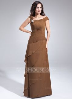 A-Line/Princess Off-the-Shoulder Floor-Length Chiffon Mother of the Bride Dress With Beading Cascading Ruffles (008006438)