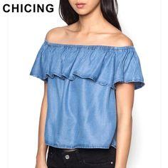 CHICING Women Peplum Crop Tops 2016 Fashion Summer Sexy Off the Shoulder Ruffles Blouse Casual Ladies Denim Jeans Tops B1603106