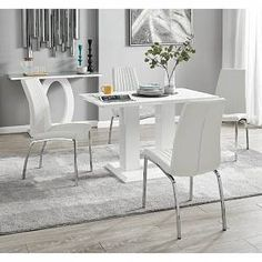 White Gloss Dining Table, Dining Chair Set, Dining Room Furniture, White Dining Table Modern, Dining Sets, Faux Leather Dining Chairs, Colorful Chairs, Upholstered Chairs, Home And Living
