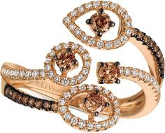 Le Vian Chocolatier® Chocolatier Diamond Bypass Statement Ring (5/8 ct. t.w.) in 14k Rose Gold