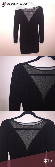 Long sleeve black, sparkly, backless dress Forever 21, perfect for semi formal occasions or going out. Super cute. Worn once. Forever 21 Dresses Long Sleeve