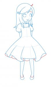 how to draw a girl in a dress step 12