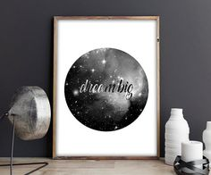 70% OFF SALE / Dream Big / Black and White / by NeedForPrint
