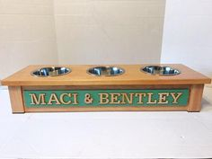 Rustic Wooden Dog Dish Stand 3 Bowl Dog Feeder Personalized