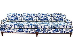 Large Chinoiserie Toile Sofa
