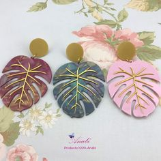 Polymer Clay Canes, Polymer Clay Flowers, Polymer Clay Earrings, Leaf Jewelry, Resin Jewelry, Cute Clay, Floral Headbands, Clay Crafts, Clay Art