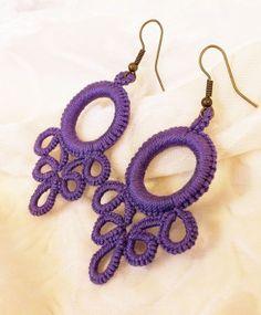 Colgantes – Crochet and Knitting Patterns Crochet Earrings Pattern, Crochet Motif, Crochet Necklace, Crochet Patterns, Tatting Earrings, Tatting Jewelry, Needle Tatting, Tatting Lace, Tatting Patterns