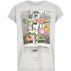 Girls grey floral print t-shirt