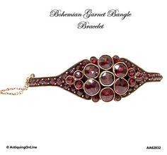 Antique Victorian Bohemian Garnet Bangle by AntiquingOnLine, $485.00