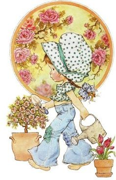 Happy Childhood World by Sarah Key a little gardener Sarah Key, Holly Hobbie, Sarah Kay Imagenes, Digi Stamps, Cute Illustration, Vintage Cards, Vintage Children, Belle Photo, Cute Art