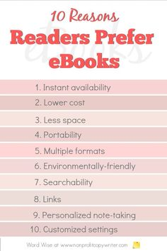 10 reasons readers prefer ebooks over print with Word Wise at Nonprofit Copywriter #WritingTips #WritingABook Easy Writing, Book Writing Tips, Writing Resources, Start Writing, Blog Writing, Blog Websites, Professional Writing, Copywriter, Strategic Planning