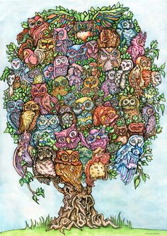 Hey, I found this really awesome Etsy listing at https://www.etsy.com/listing/107947635/almost-60-owls-print-on-paper