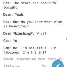 Or you know, Sam would be sitting far away as Castiel completes his sentence since Sam fucking loves Destiel💁🏻♀️ Supernatural Pictures, Supernatural Destiel, Dean And Castiel, Super Natural, Superwholock, Nerdy, Fangirl, Funny Pictures, Things To Think About