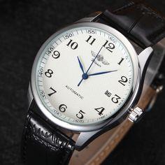 Winner Luxury Men Mechanical Watch Classic Date automatic Mechanical Watch Self-Winding Skeleton Black Leather Strap Wrist Watch #men, #hats, #watches, #belts, #fashion