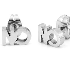 Unique NO Mens Stud Earrings Silver Stainless Steel by RnbJewelry    RnBJewellery Unique Earrings, Stud 8e03f6df6d