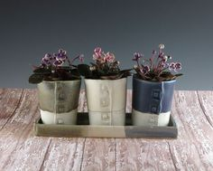 Handmade Indoor Ceramic Planters - Pottery Windowsill Planters - Succulent Planter - Herb Planters - Set of 3 Pots on a Tray - 628