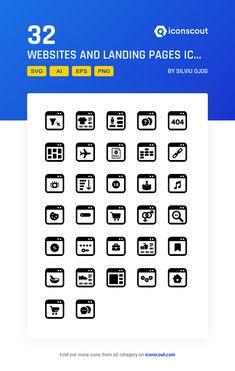 Websites And Landing Pages Icon Pack - 32 Glyph Icons Glyph Icon, Png Icons, More Icon, Icon Pack, Icon Font, Glyphs, Design Development, Landing, Website