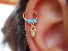 Hamsa hand opal helix piercing cartilage gold filled hamsa earring