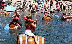 Wine Barrel Races, Russian River Parade at Healdsburg, California Water Carnival