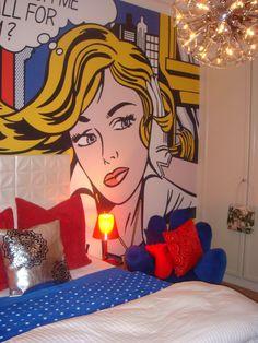 Pop art Roy Lichtenstein inspired bedroom - red, blue & yellow colour palette