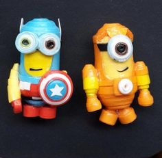 Made by me.Quilling superhero minions earrings