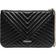 GUESS by Marciano Quilted Wristlet Clutch ($64) ❤ liked on Polyvore featuring bags, handbags, clutches, purses, accessories, pochette, black, black wristlet, black hand bags and wristlet clutches