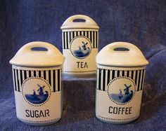 ANTIQUE CANISTER SET Ceramic CZECHOSLOVAKIA YVONNE Coffee Tea Sugar BLUE+WHITE